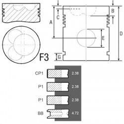 SCY3031 Tłok kpl. 3 pierścienie