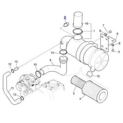 Czujnik zapchania filtra powietrza Case 580SR 580ST 580T 590SR 590ST 695SR 695ST  New Holland B115 B115B LB110B LB115B LB90B LB9