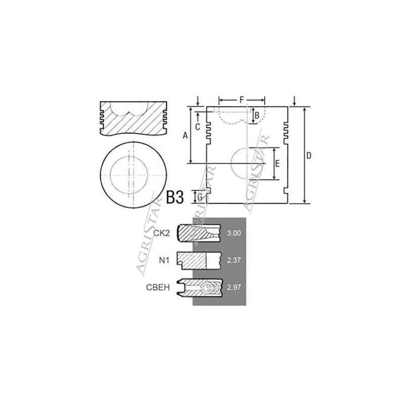 SCY3072 Tłok z pierścieniami 111,61mm 3 pierścienie Case MXM, New Holland TM, 87802672, 87802835
