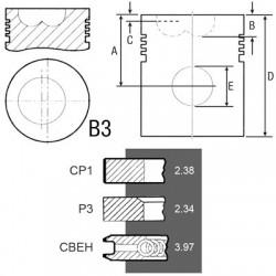 SCY4037 Pierścienie kpl 102mm 2,38+2,34+3,97mm