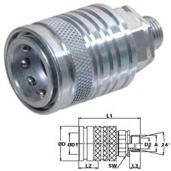 HYD5103 Szybkozłącze gniazdo grzybkowe M22x1,5 zew.