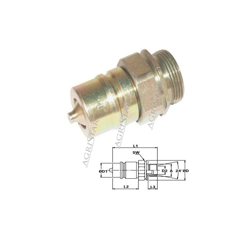 HYD5006 Szybkozłącze wtyczka grzybkowe M14x1,5 zew.
